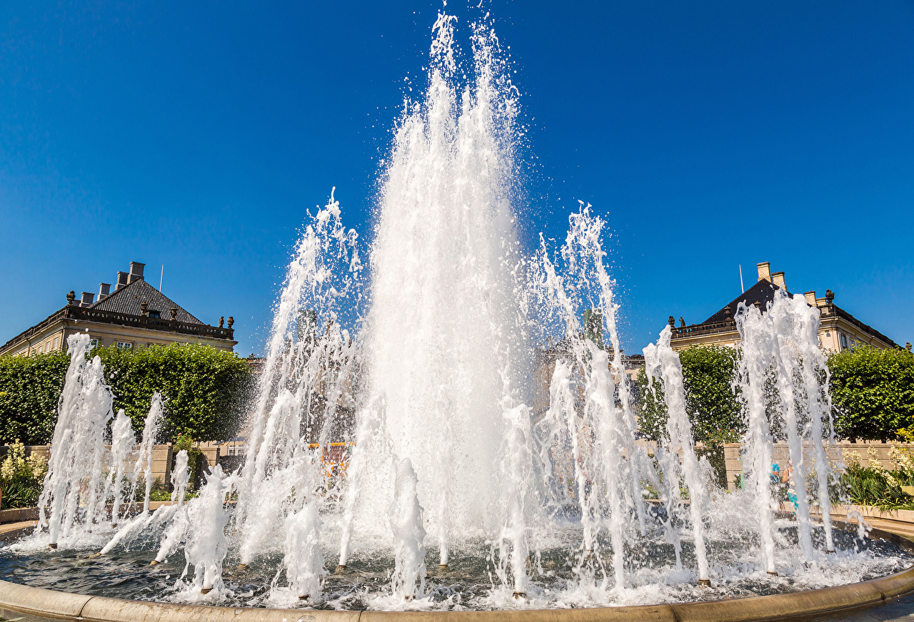 Image Copenhagen Denmark Fountains Water splash Cities