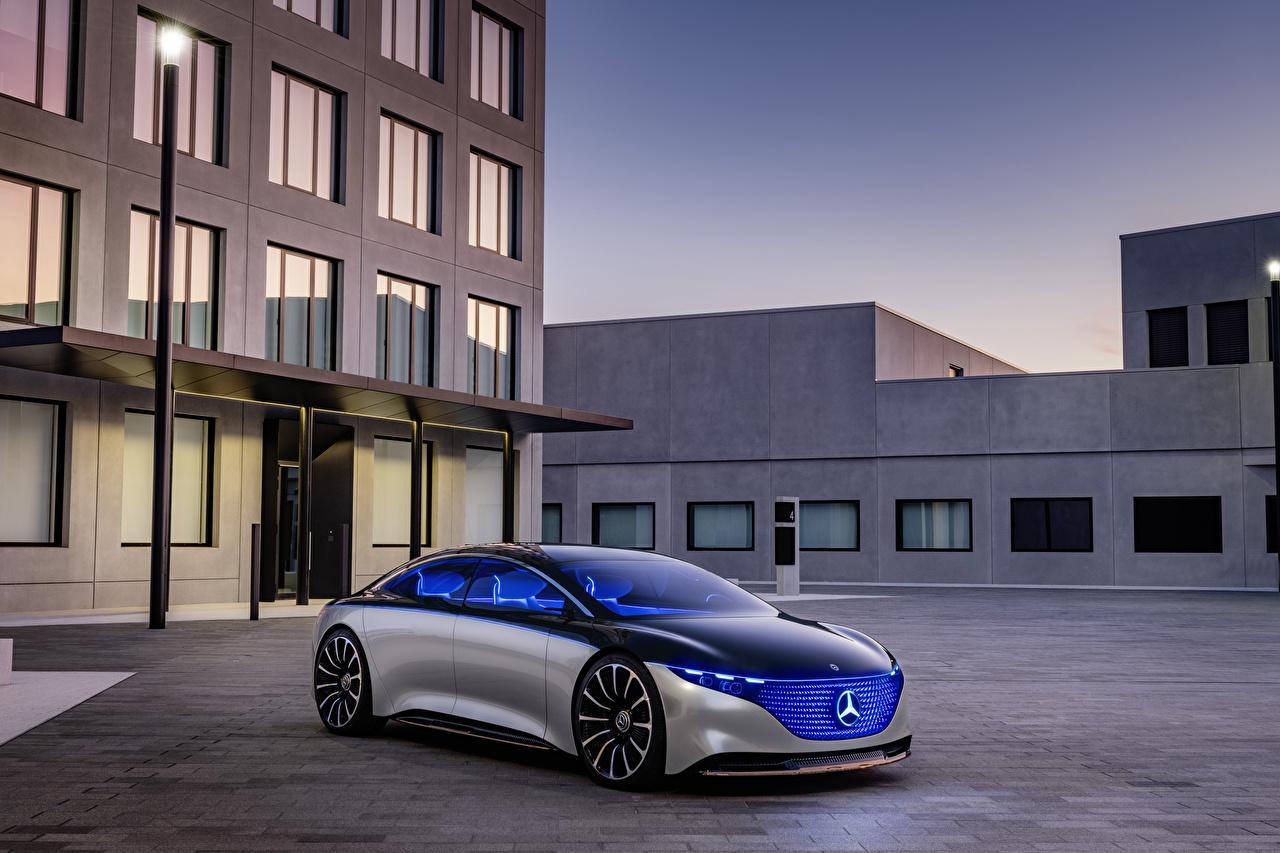 Bilder Mercedes-Benz 2019 Vision EQS Silber Farbe auto Autos automobil