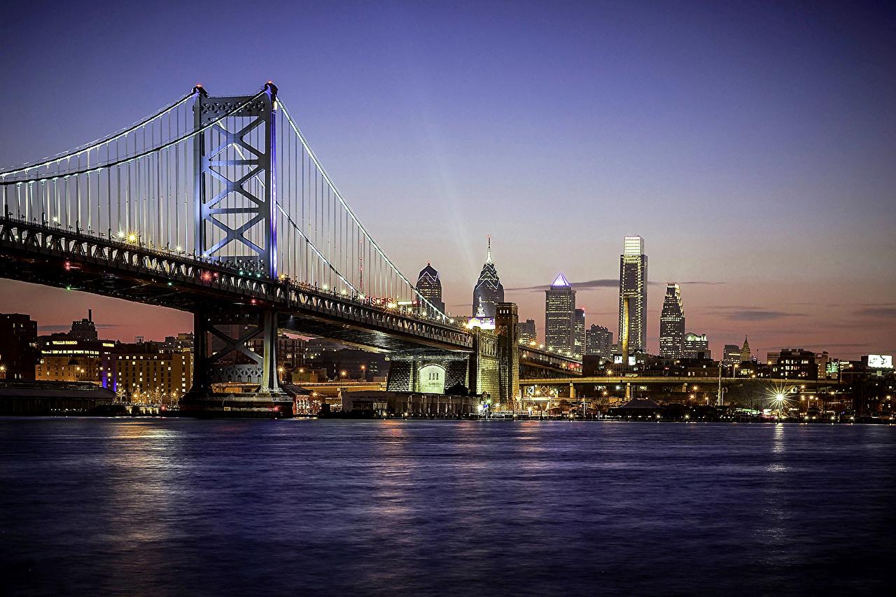 EUA Casa Rios Pontes Philadelphia Noite Revérbero rio, ponte, Edifício, Estados Unidos Cidades