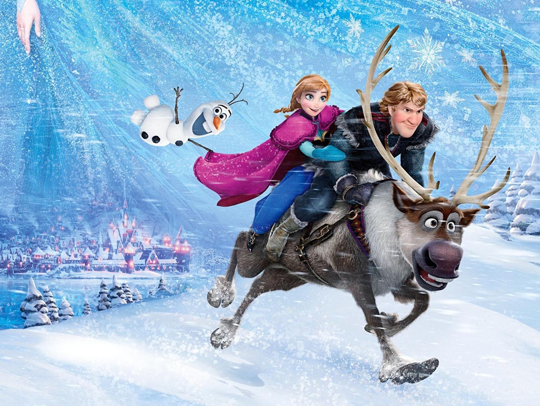 壁紙 アナと雪の女王 シカ Kristoff Olaf Sven Anna 角 漫画 動物 ダウンロード 写真