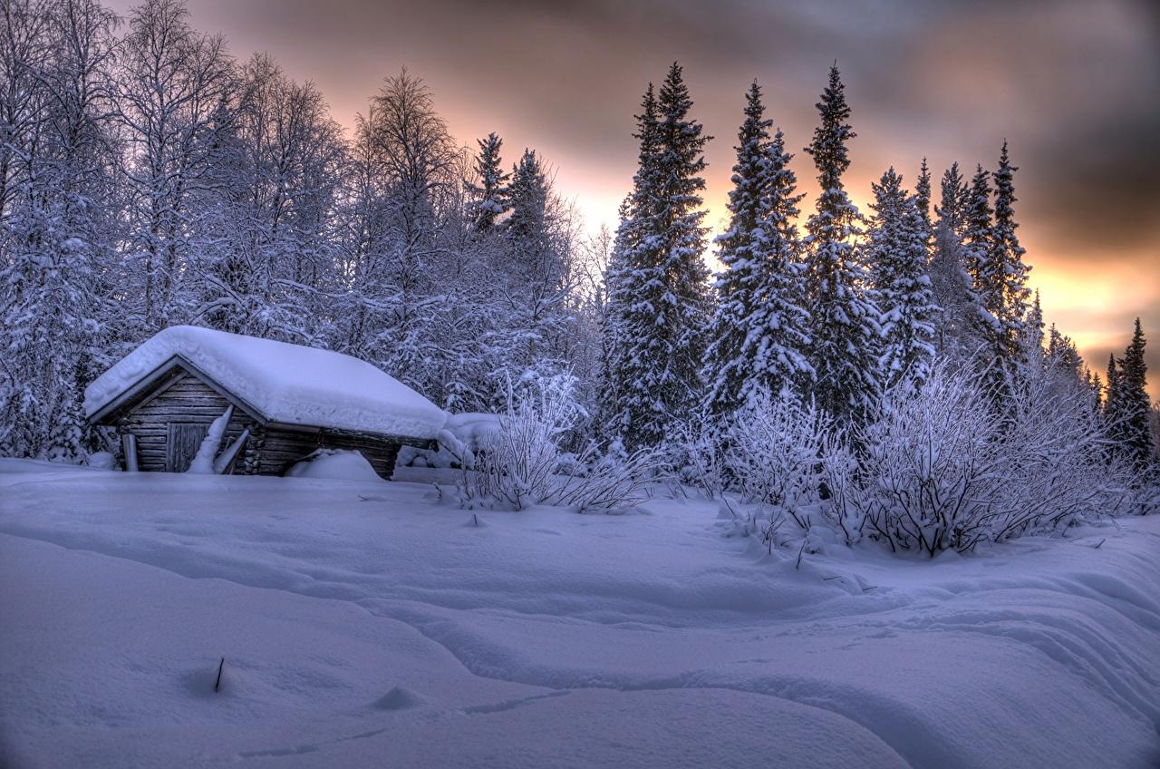 Finlande Hiver Maison Laponie région Neige Bâtiment Nature