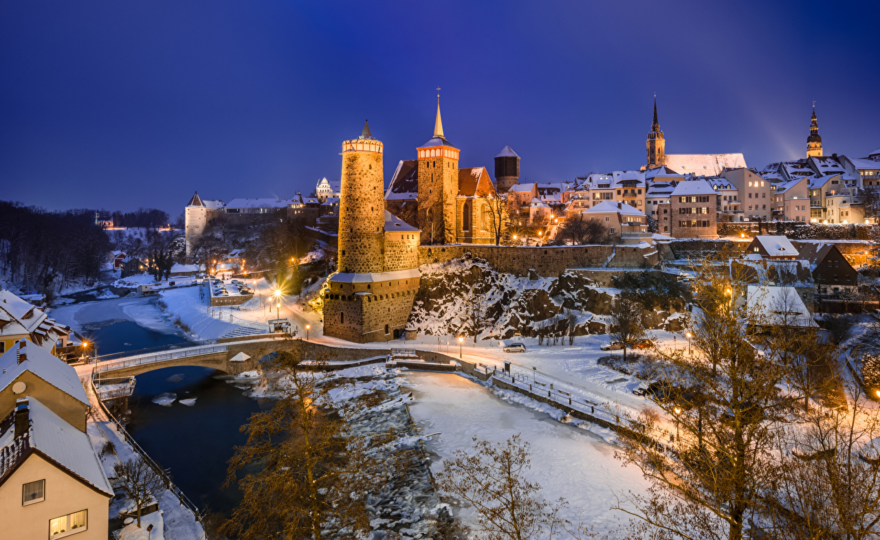 Picture Germany towers Bautzen Winter Castles Evening Cities Tower castle