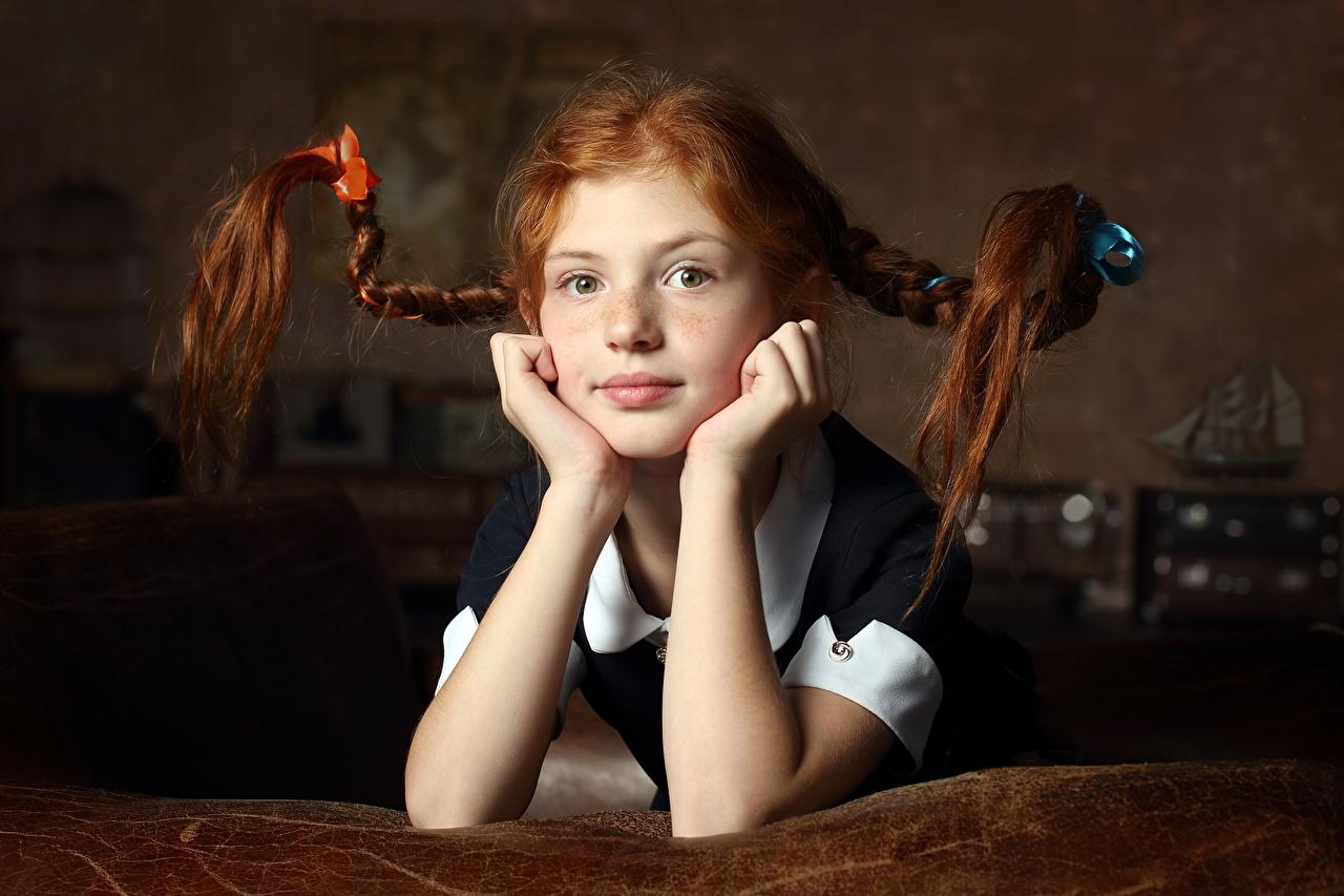 Images Redhead girl plait child Hair Hands Glance Braid hair Children Staring
