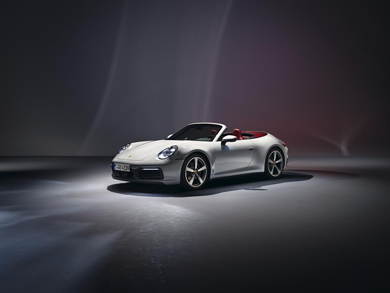 Photos Porsche 911 Carrera 2019 Cabriolet White Automobile