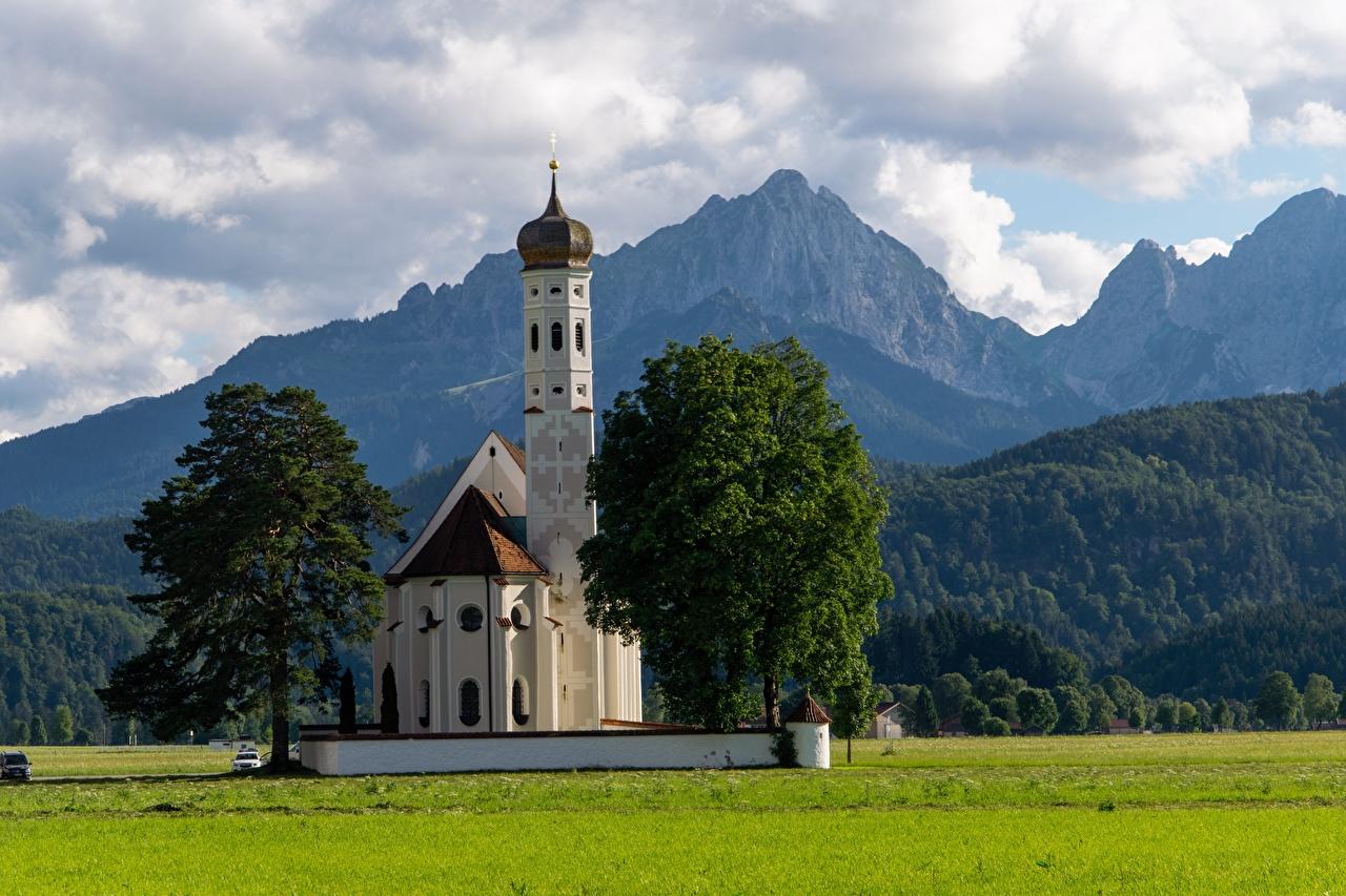 Desktop Wallpapers Church Alps Austria Nature Mountains Trees