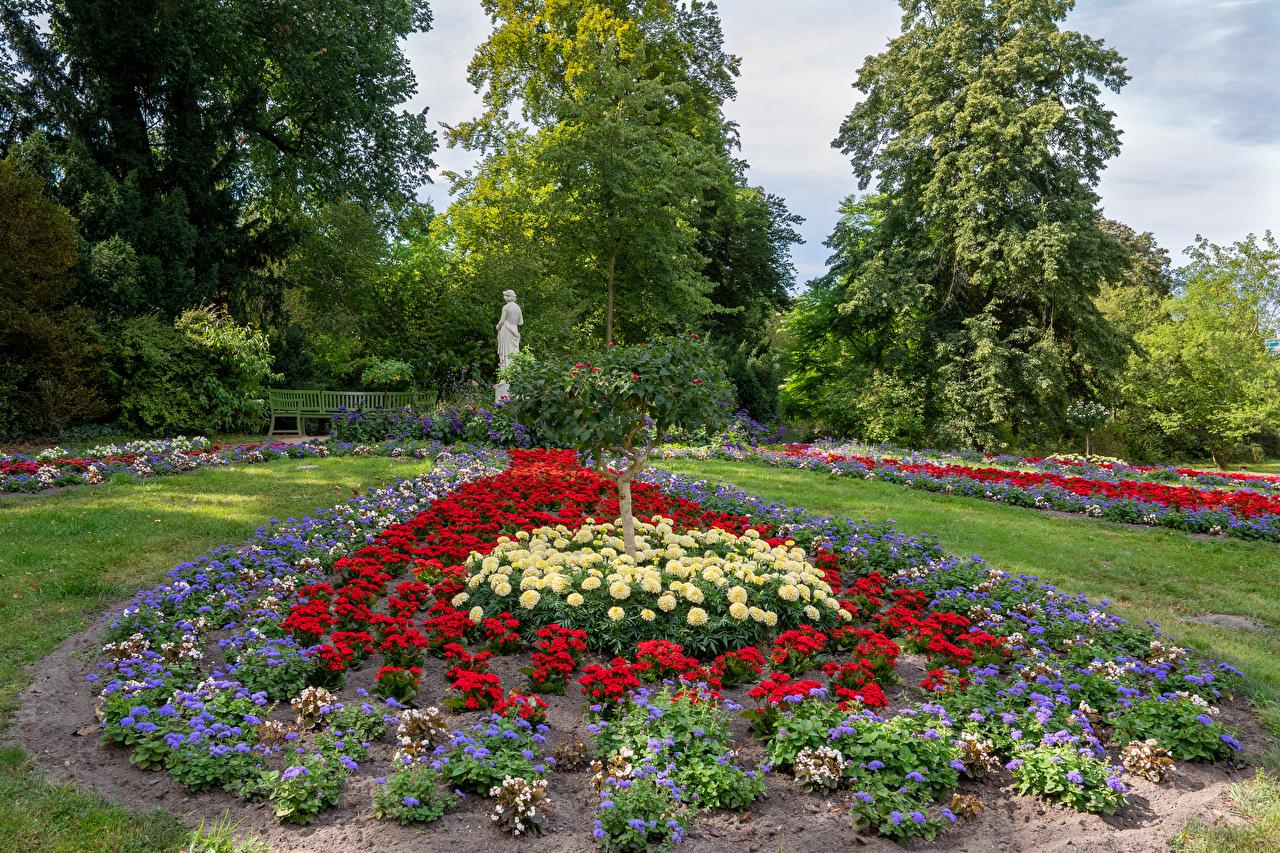 、ドイツ、ポツダム、公園、ダリア、彫刻、Park Sanssouci、デザイン、木、自然、