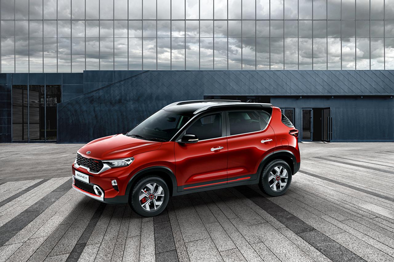 Desktop Wallpapers KIA CUV Sonet GT-Line, India, 2020 Red Cars Metallic Crossover auto automobile