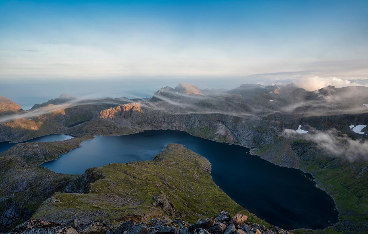 Foto Lofoten Norwegen Krokvatnet Berg Natur See Wolke Gebirge