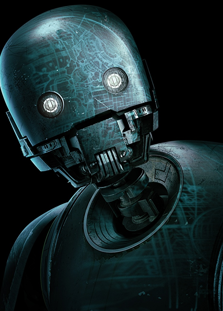 Photo Rogue One: A Star Wars Story Robot K-2SO film Head Black background  for Mobile phone robots Movies