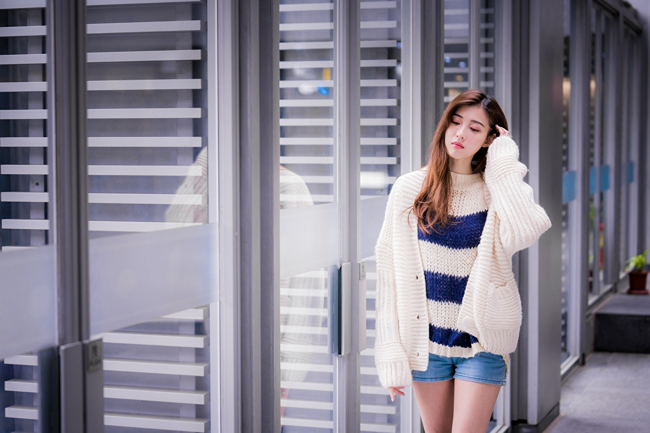 Pictures Brown haired pretty Girls Asian Sweater Hands Shorts Cute sweet lovely female young woman Asiatic