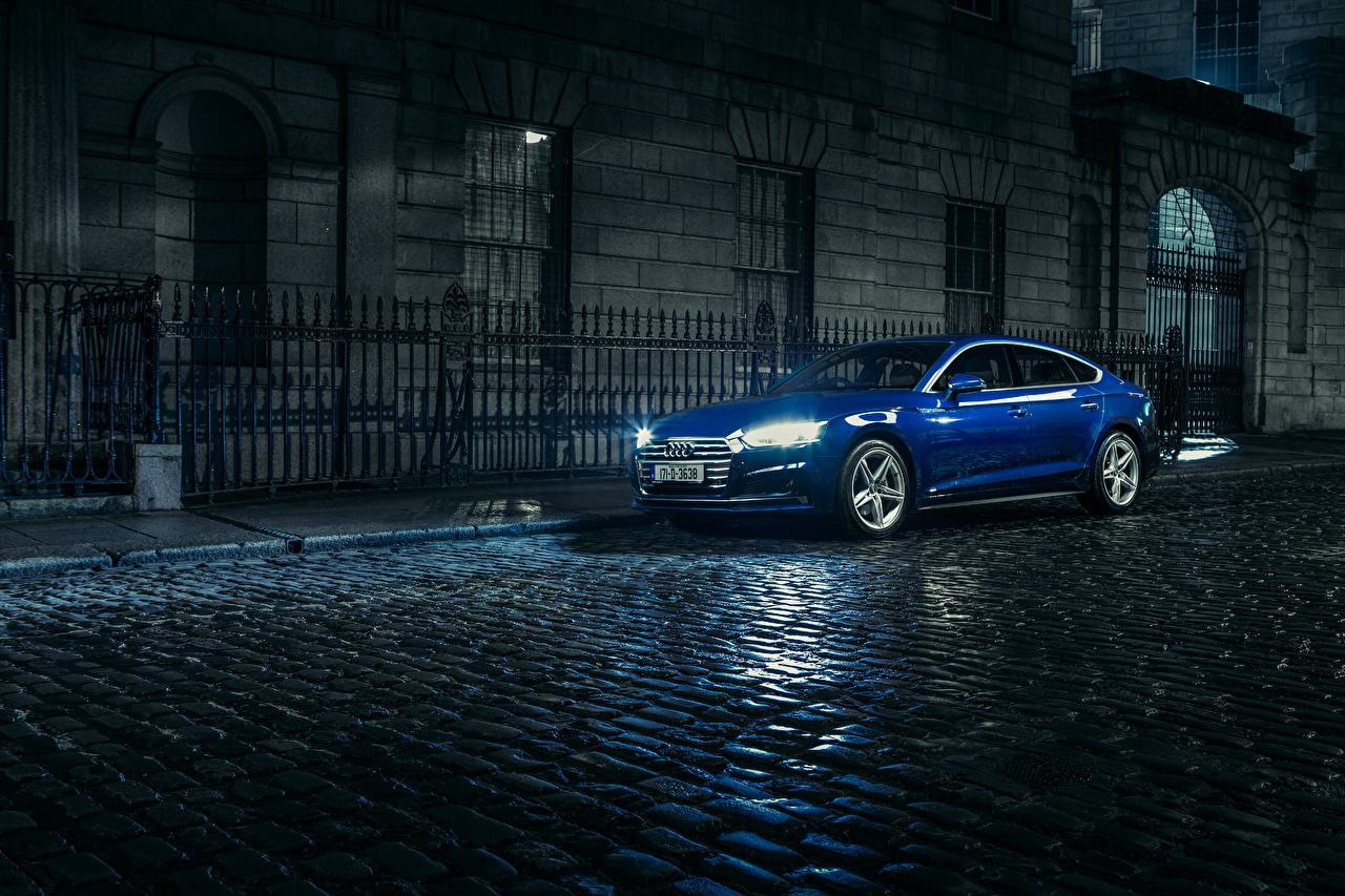 壁紙 アウディ 17 Audi A5 Sportback 2 0 Tdi Quattro S Line 青 メタリック塗 ストリート 夜 自動車 ダウンロード 写真
