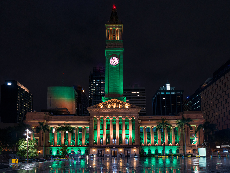 Austrália Brisbane Casa Relógio Noite Revérbero Edifício Cidades