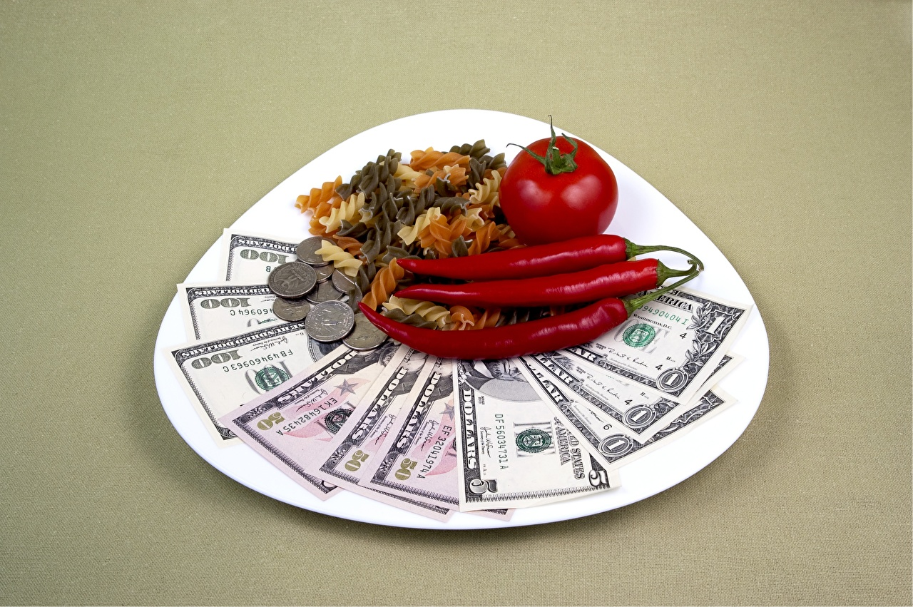 Wallpaper Coins Dollars Paper money Pasta Tomatoes Chili pepper Food Plate Money Colored background Banknotes