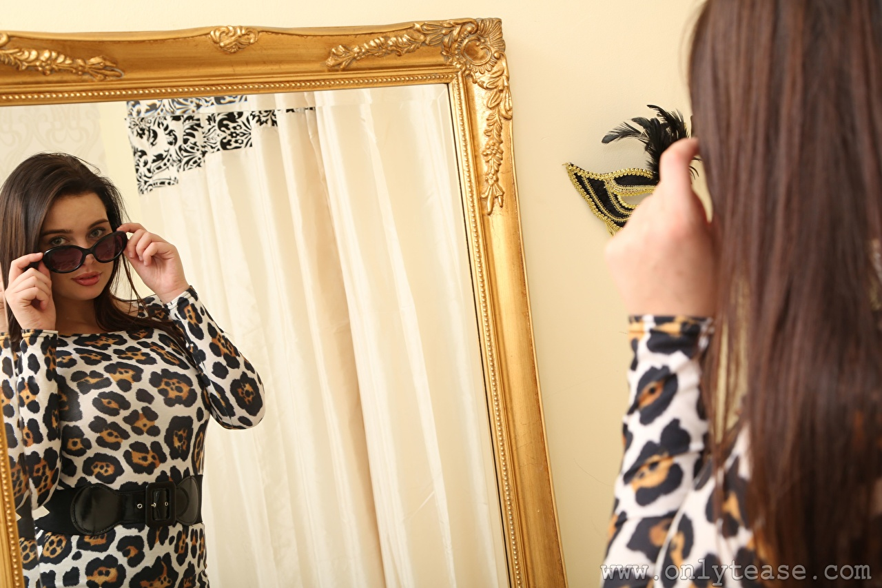 Desktop Wallpapers Kay Only Brown haired female reflected Hands Mirror Glasses Girls young woman Reflection eyeglasses