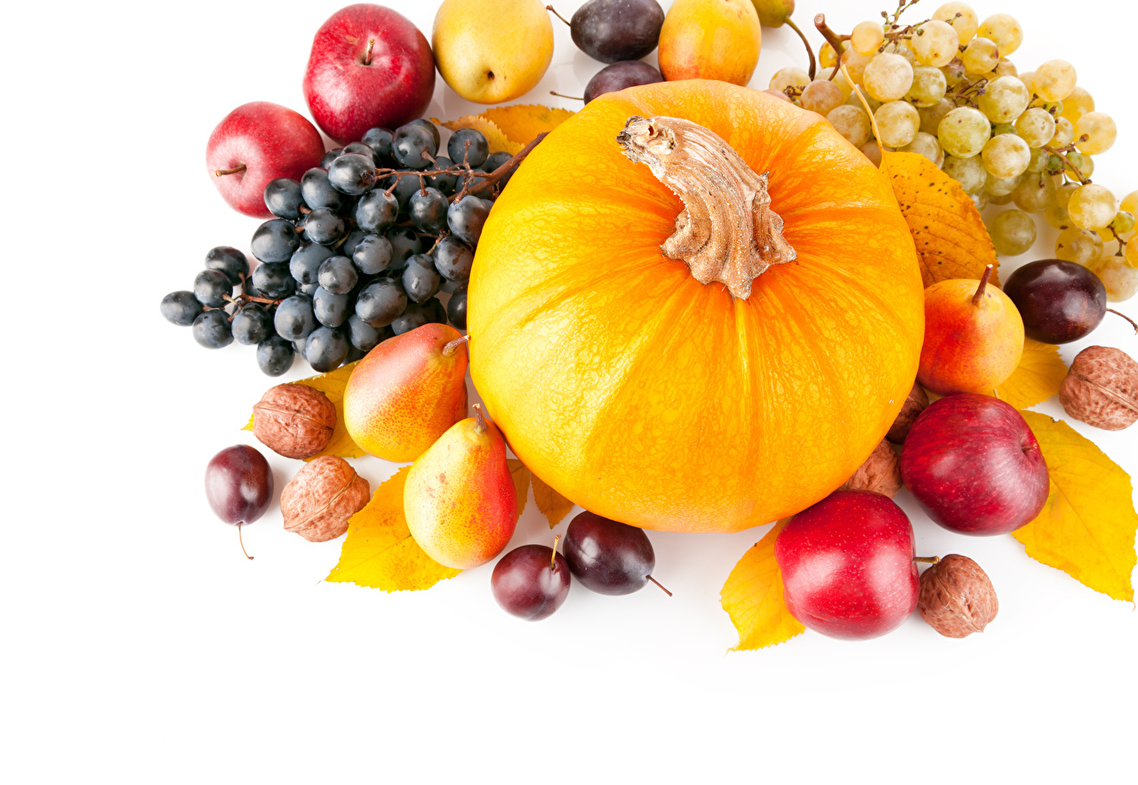 Picture Pumpkin Plums Pears Apples Grapes Food Nuts White background