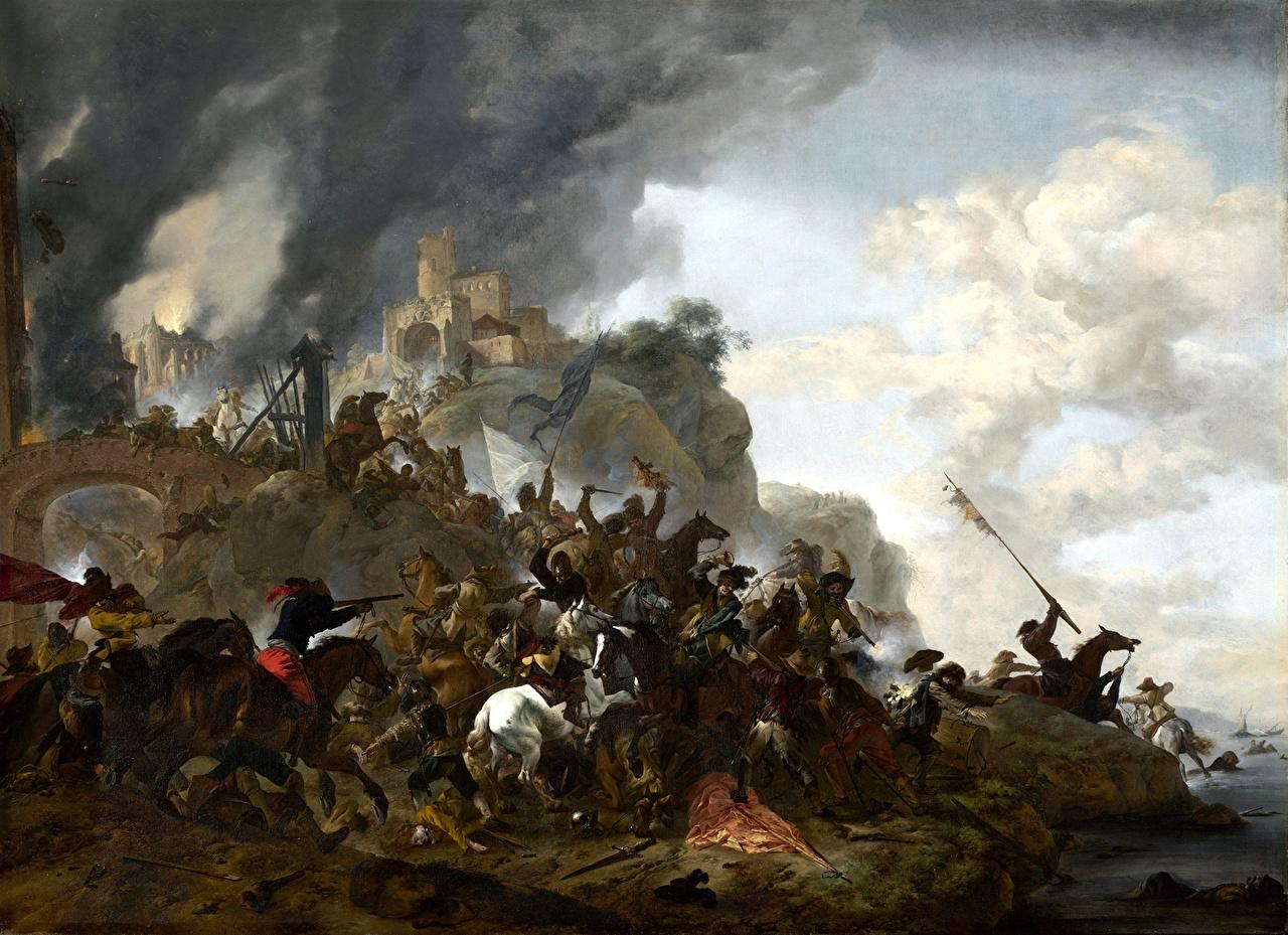 Tapety na pulpit koń Wojna Żołnierze Philips Wouwermans, Cavalry making a Sortie from a Fort on a Hill obraz Konie żołnierz Malarstwo