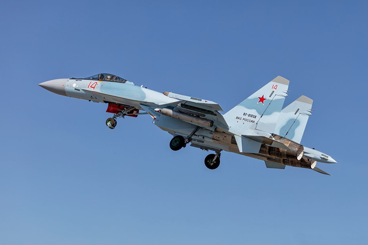 Picture Sukhoi Su-35 Fighter Airplane Airplane Russian Su-35S Side Aviation Fighter aircraft