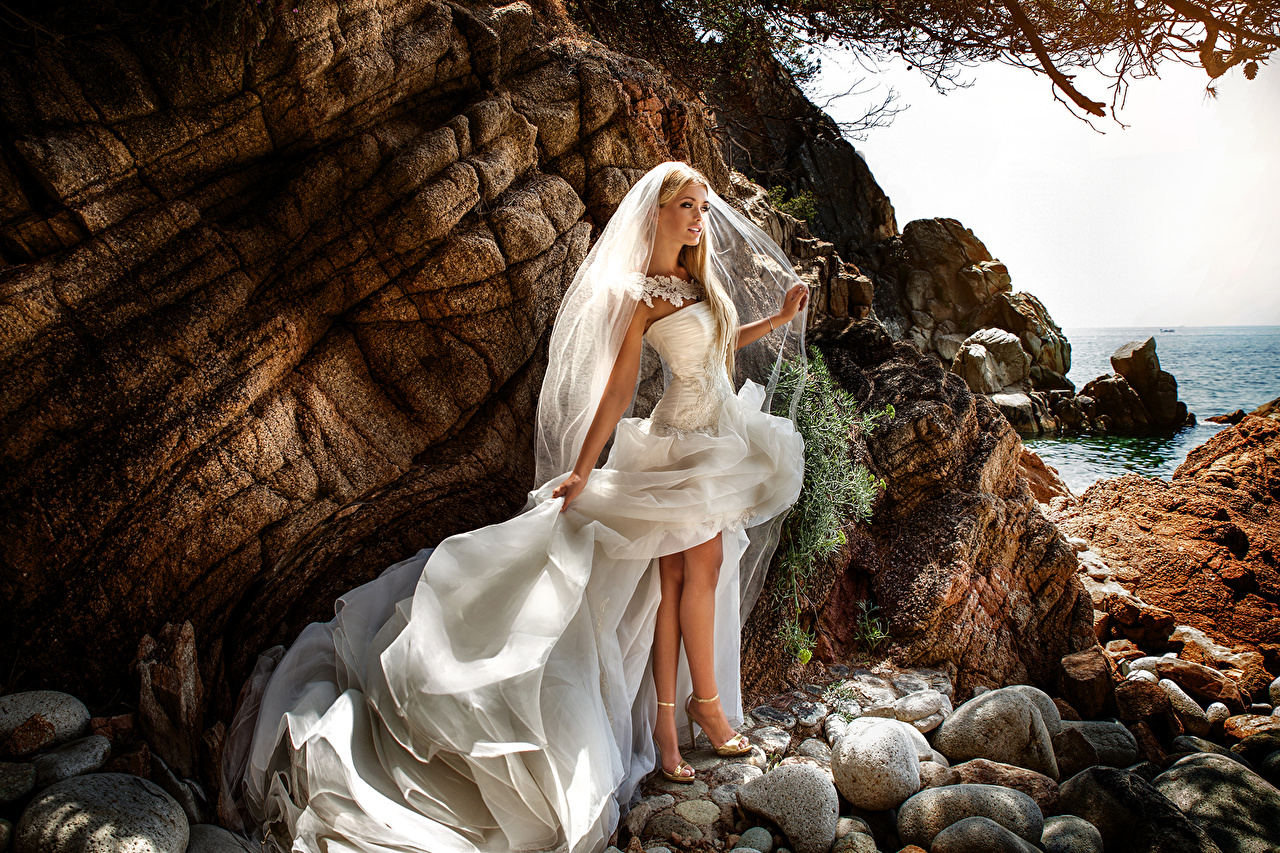 Image brides Blonde girl young woman Legs stone Dress Bride Girls female Stones gown frock
