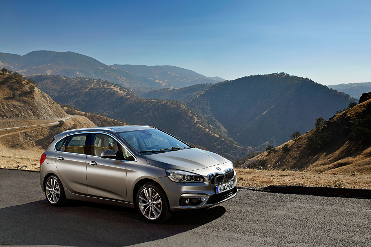 Pictures BMW 2014 224i Active Tourer Nature Mountains Roads Cars Side Metallic mountain auto automobile