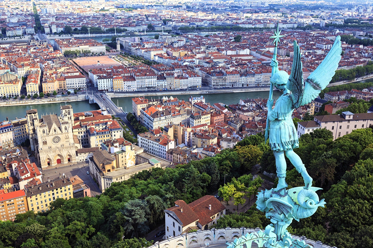 Desktop Wallpapers France Wings Lyon Angels From above Cities Building Sculptures angel Houses