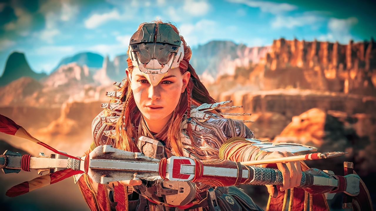 Picture Horizon Zero Dawn Archers warrior Bow weapon Aloy 3D Graphics Games Warriors vdeo game
