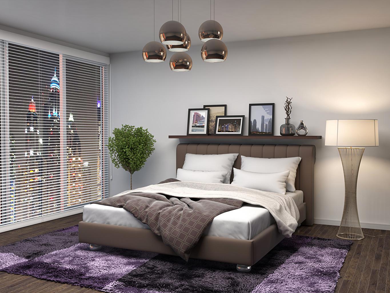 壁紙、インテリア、デザイン、寝室、ベッド、絨毯、ランプ、3Dグラフィックス、ダウンロード、写真