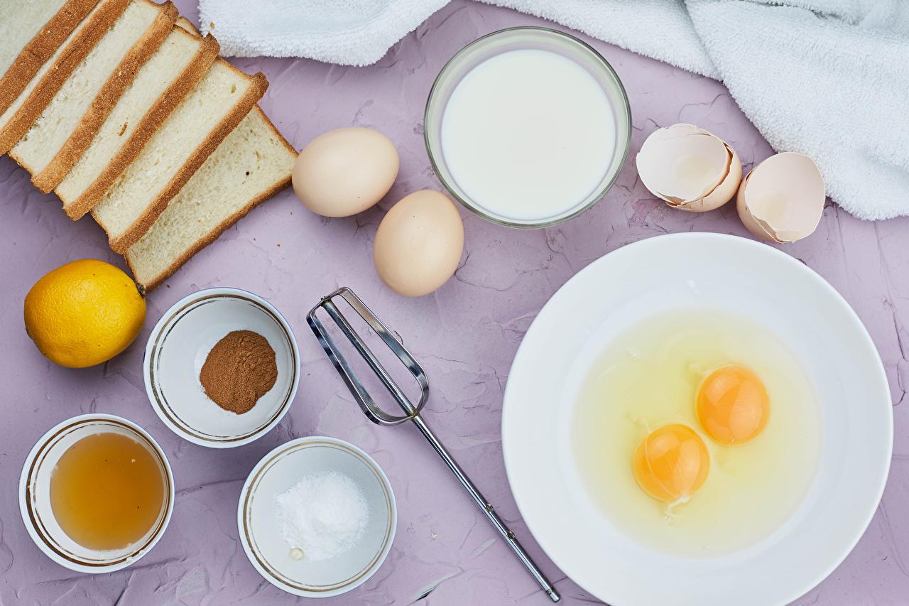 Fotos Milch Ei Brot Salz Zitrone Schüssel Teller das Essen eier Zitronen Lebensmittel