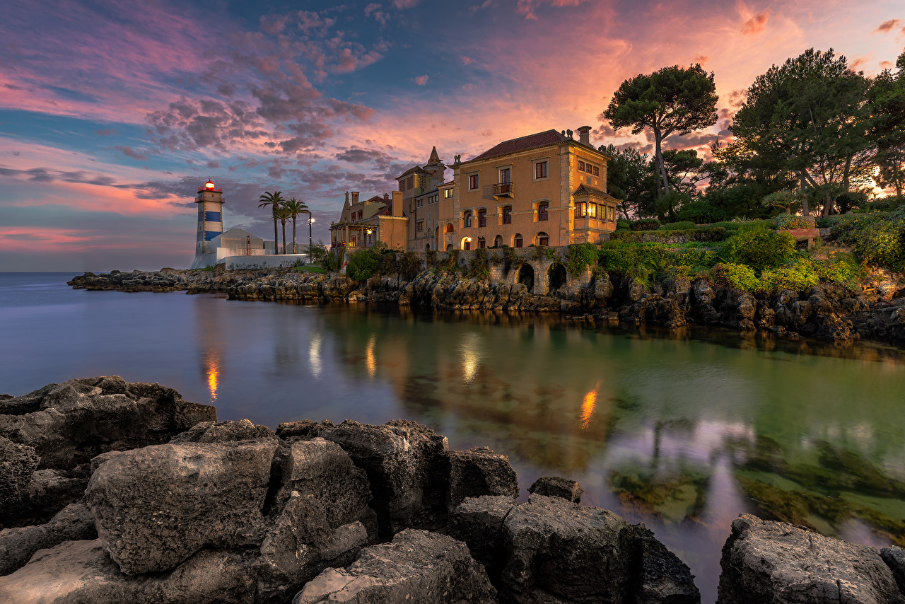 Picture Portugal Cascais Lighthouses Bay stone Evening Cities Building Stones Houses