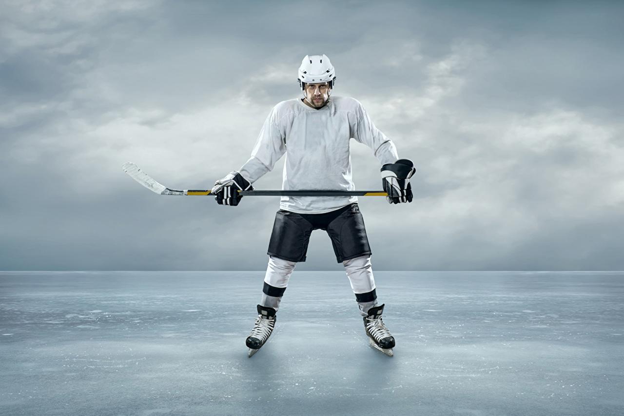 Foto Helm Mann Eis Sport Hockey Uniform