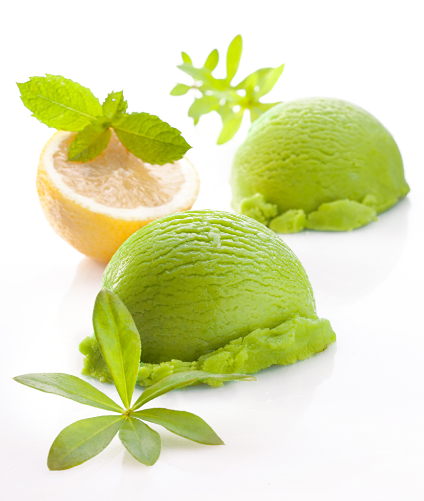 Pictures 2 Green Ice cream lime color Lemons Food Balls White background Two Yellow green