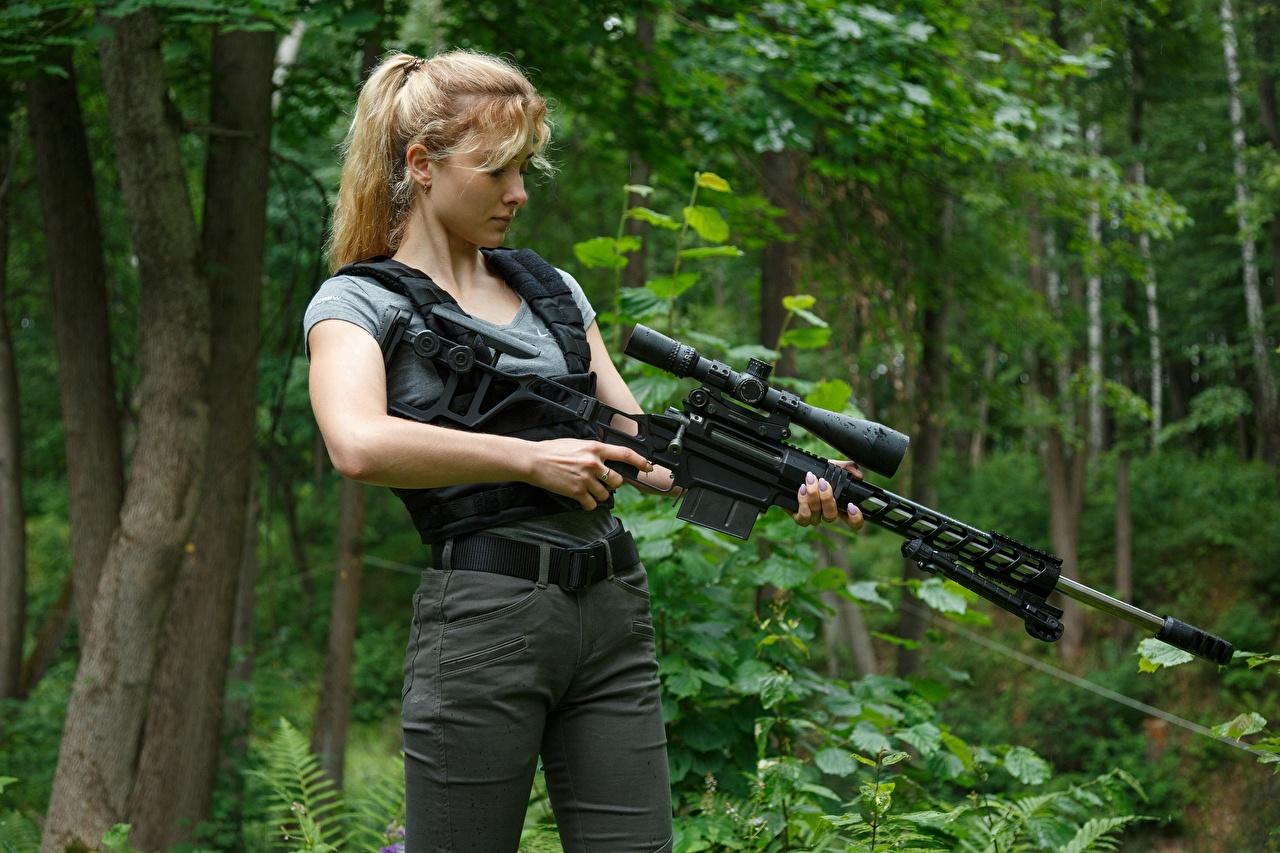 Image Sniper rifle Snipers Blonde girl Lobaev Sniper Rifle, TSVL-8 Stalingrad Girls female young woman