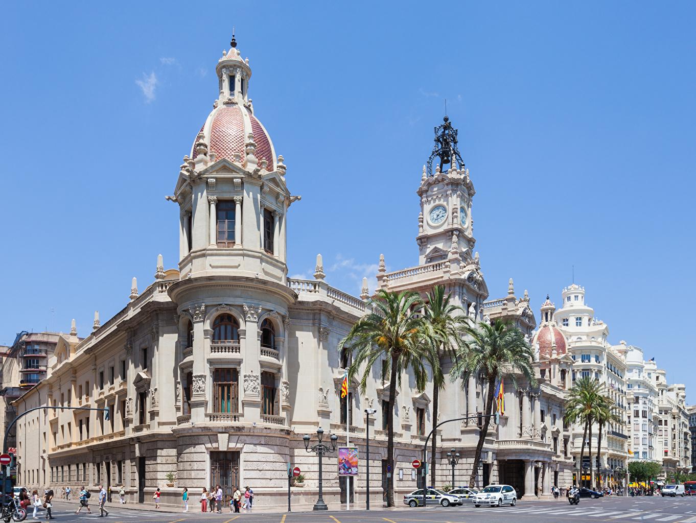 Wallpaper Spain City Hall, Valencia Street palm trees Street lights Cities Palms