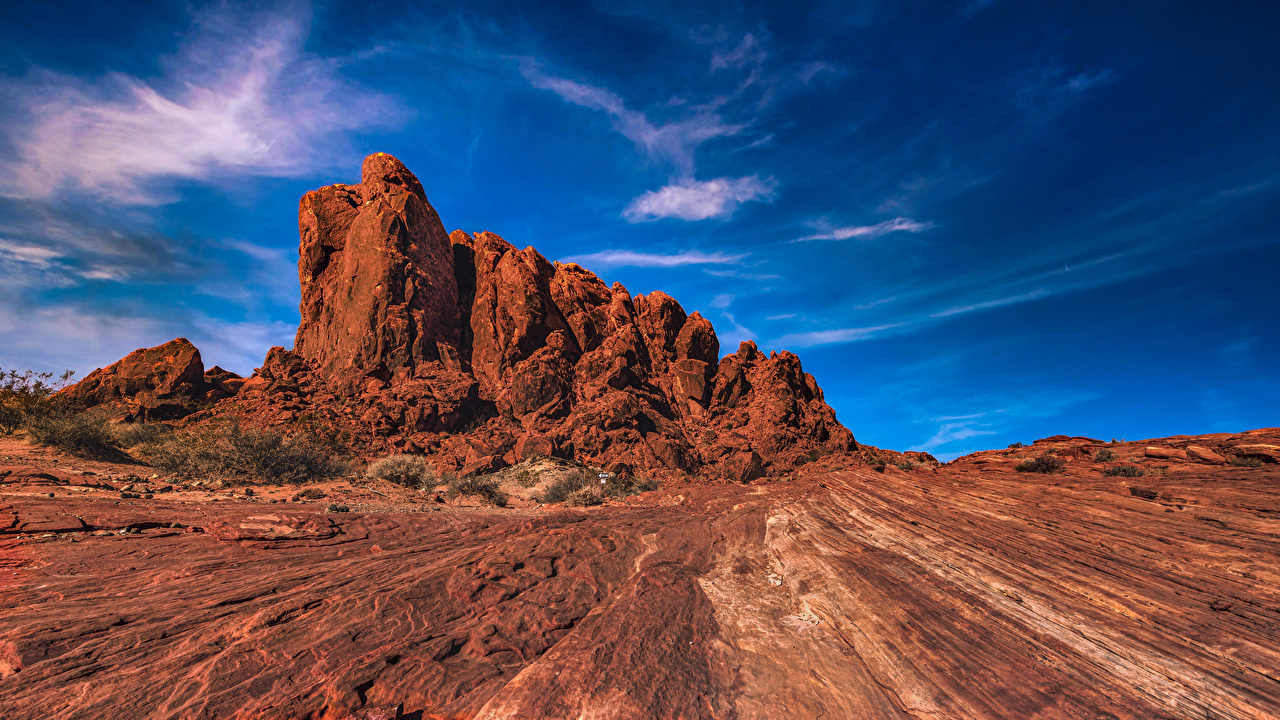 Desktop Wallpapers Nevada USA Valley of Fire State Park Crag Nature Sky Parks Rock Cliff park