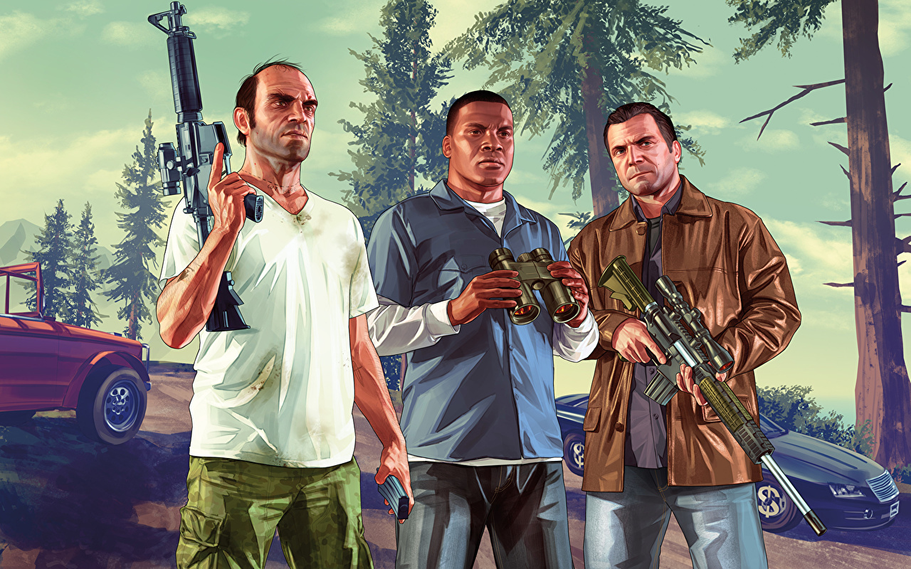 Foto GTA 5 Mann Sturmgewehr Franklin, Trevor, Michael Neger computerspiel Drei 3 Spiele