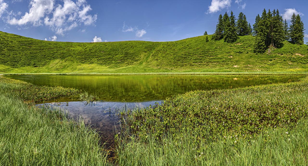 壁紙 ドイツ 湖 Oberallgau バイエルン州 丘 草 自然