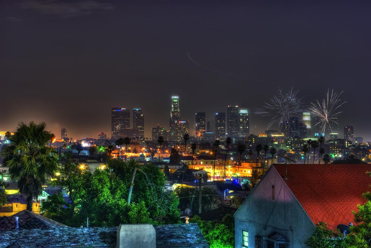 Fonds D Ecran Usa Maison Los Angeles Californie Nuit Villes