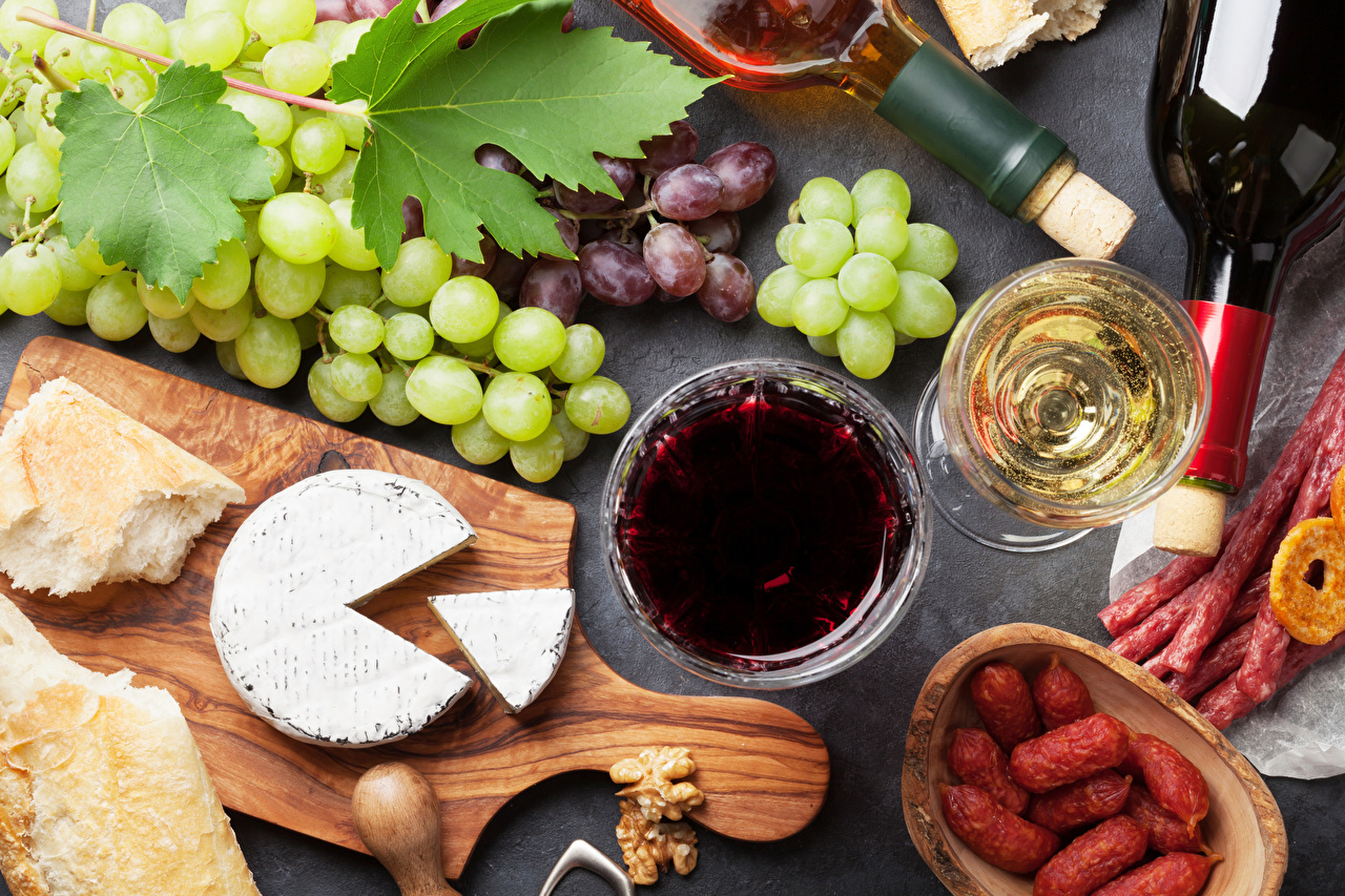 Desktop Wallpapers Wine Sausage Bread Cheese Grapes Food Stemware Cutting board
