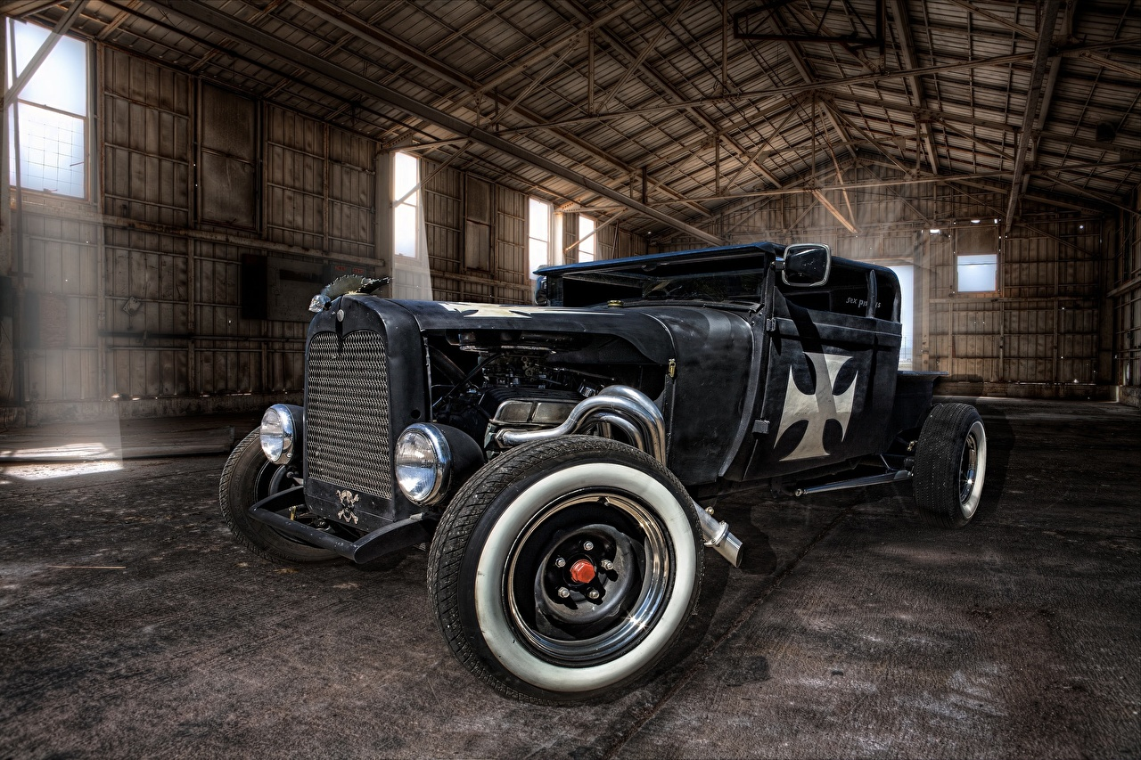 Pictures RAT ROD HDR vintage auto Headlights HDRI Retro antique Cars automobile