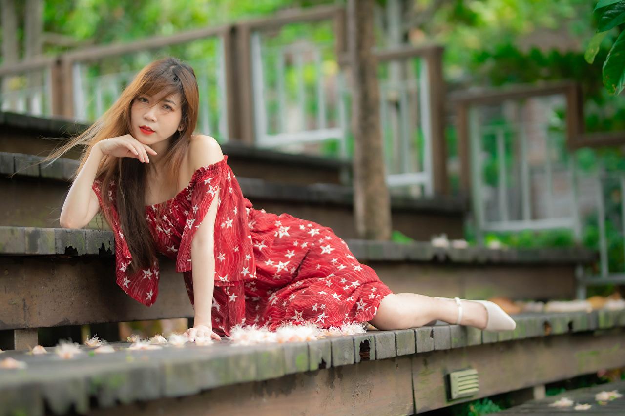 Desktop Hintergrundbilder unscharfer Hintergrund Pose Treppe junge frau Asiaten Starren Kleid Bokeh posiert Stiege Treppen Mädchens junge Frauen Asiatische asiatisches Blick