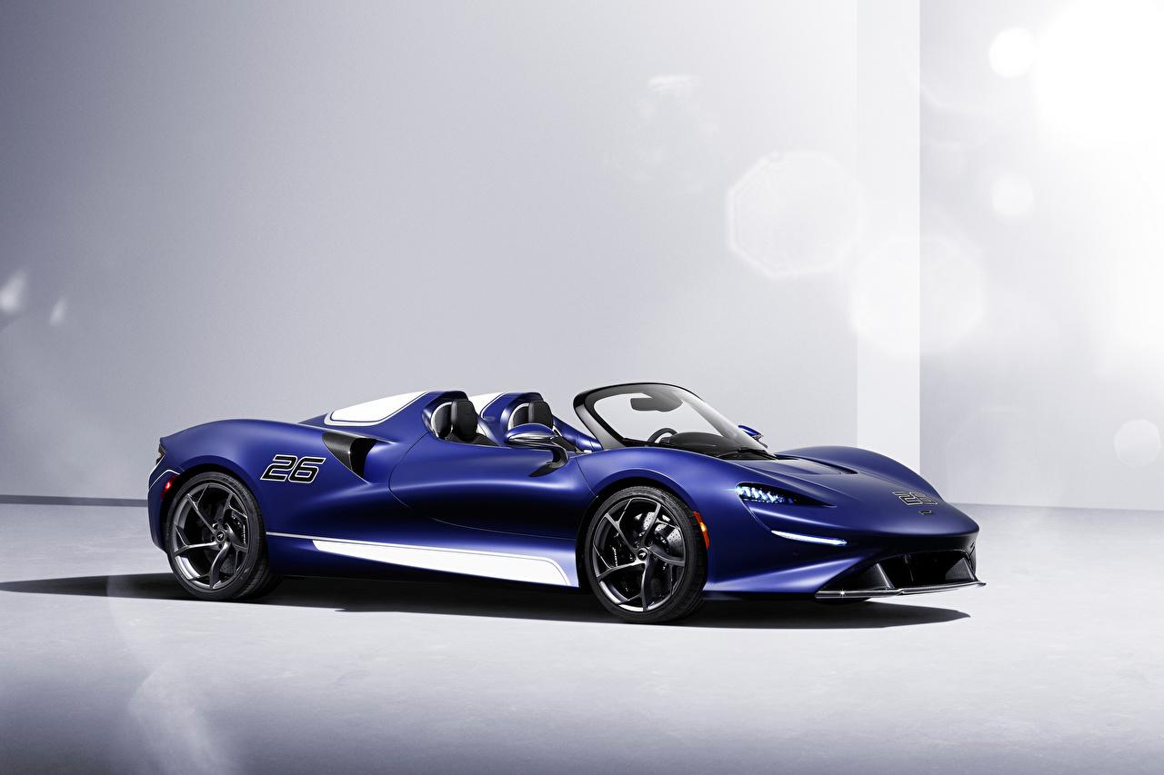 Tapety McLaren Elva Windscreen Version, (North America), 2021 Roadster Barwa niebieska Samochody Metaliczna samochód