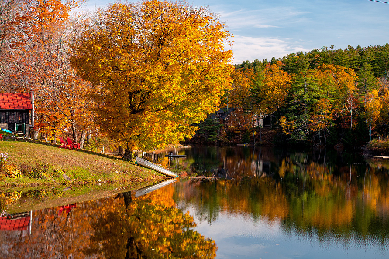 Image USA Vermont Autumn Nature river Boats Trees Rivers