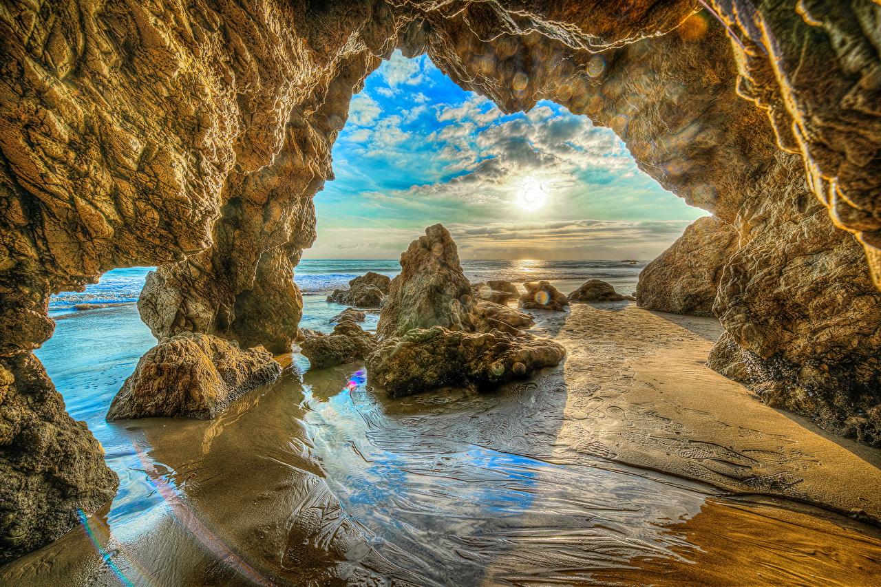 Bilder Kalifornien Vereinigte Staaten Malibu Beach HDR Natur Felsen Küste USA HDRI