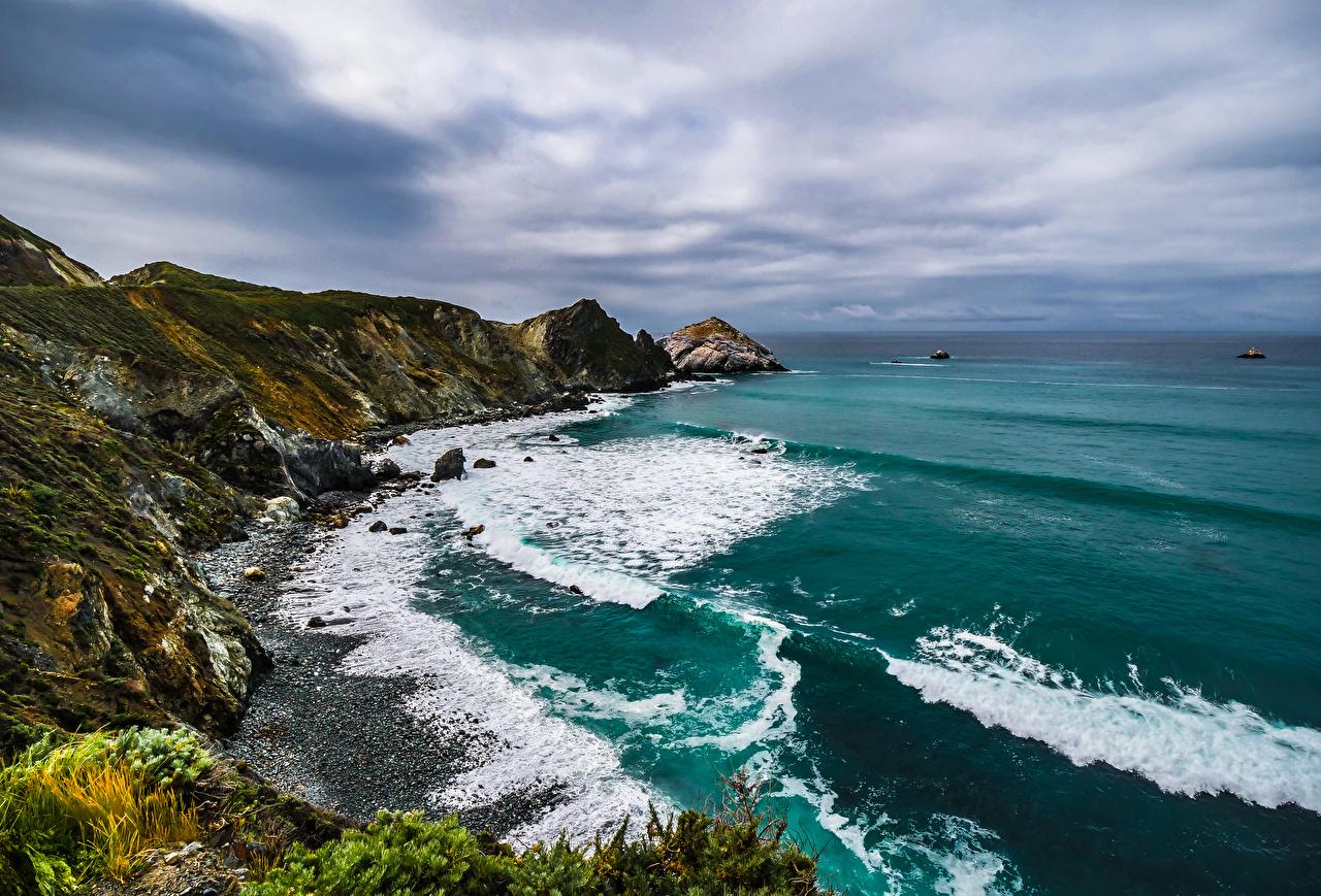 Wallpaper California USA Crag Ocean Nature Coast Rock Cliff