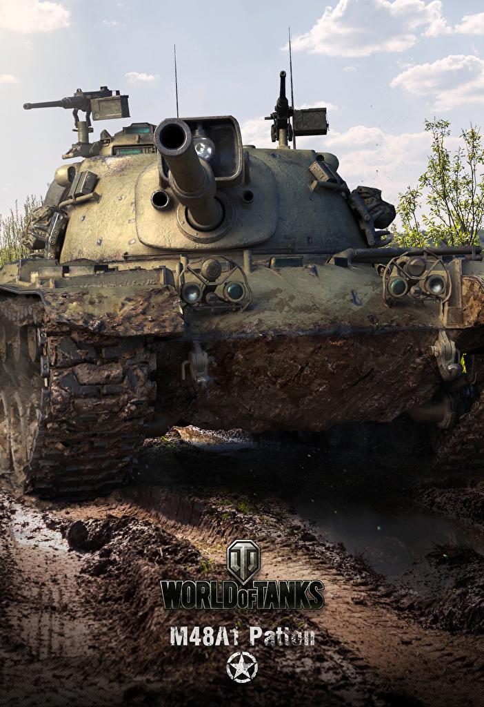 Foto WOT Panzer amerikanische M48A1 Patton, for Smartphones computerspiel World of Tanks US Amerikanisch amerikanischer amerikanisches Spiele