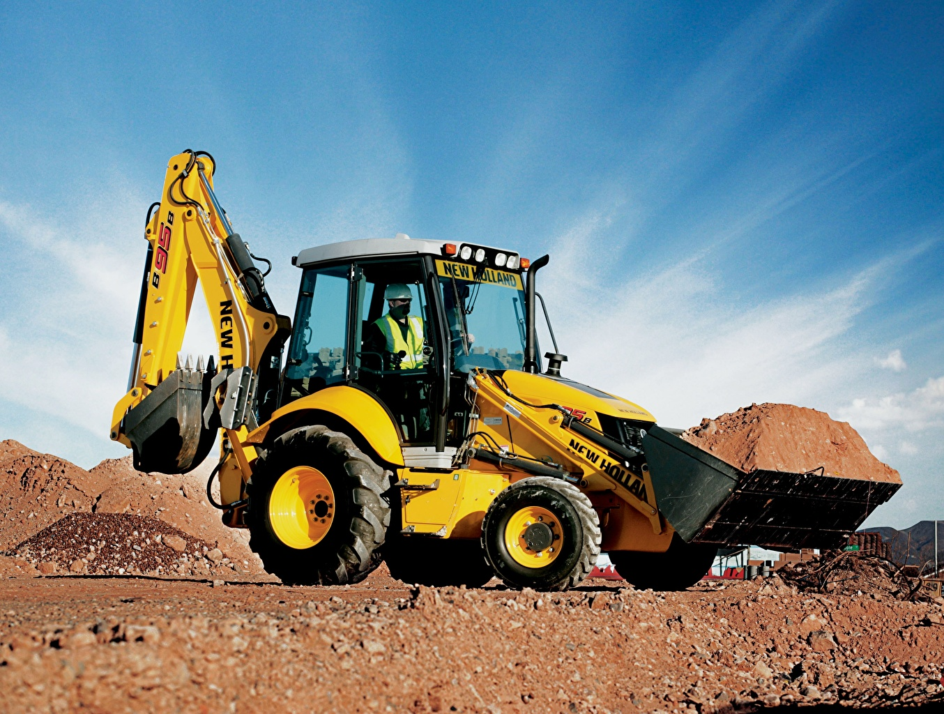 Picture Excavator front-end loader 2008-16 New Holland B95B Yellow Loader payloader front loader