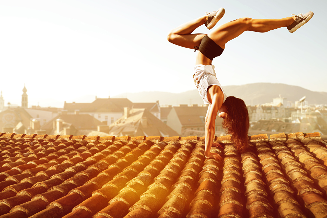 Picture Brown haired Workout Roof Girls Gymnastics Physical exercise female young woman