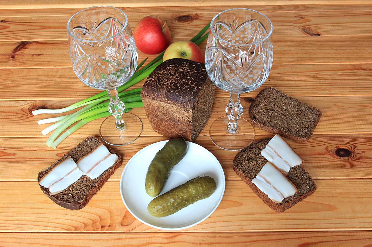 Pictures Two Cucumbers Salo - Food Bread Apples Food Shot glass Still-life 2