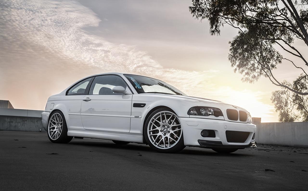 Pictures BMW Bummer E46 White auto Cars automobile