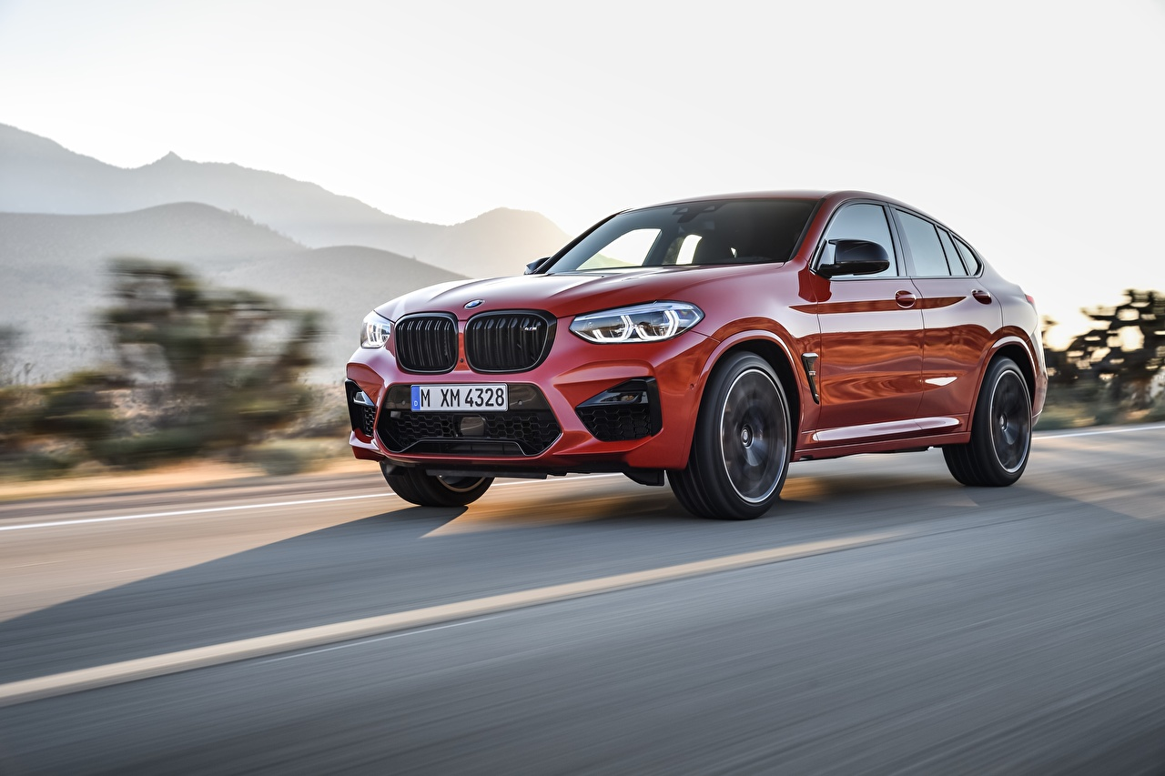 Photo BMW CUV Competition X4M F98 Red Motion Cars Crossover auto automobile