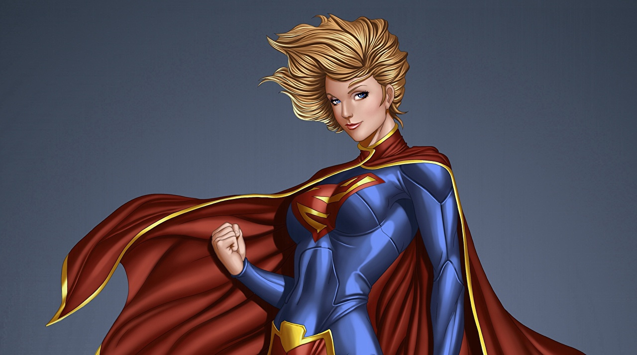 Фотография Герои комиксов Супергёрл герой Kara Zor-El Фантастика молодая женщина плащом супергерои Фэнтези девушка Девушки молодые женщины Плащ плаще